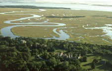 Cumberland Island National Seashore From the Air, Dungeness Ruins in the Foreground, File Photo, OutdoorPlaces.Com, All Rights Reserved