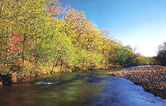 The Current River Running Low During The Fall, Ozark National Scenic Riverways, Missouri, Copyright 1999 - 2000, OutdoorPlaces.Com, All Rights Reserved